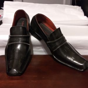 Robert Wayne Marino Black Leather Dress Loafers
